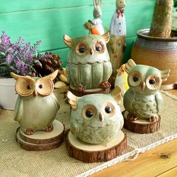 Ceramiczne figurki sowa japoński wiejski styl Retro sztuczny ręcznie wykonany porcelanowe statuetki zwierząt dekoracje do domu na prezent rzemiosło