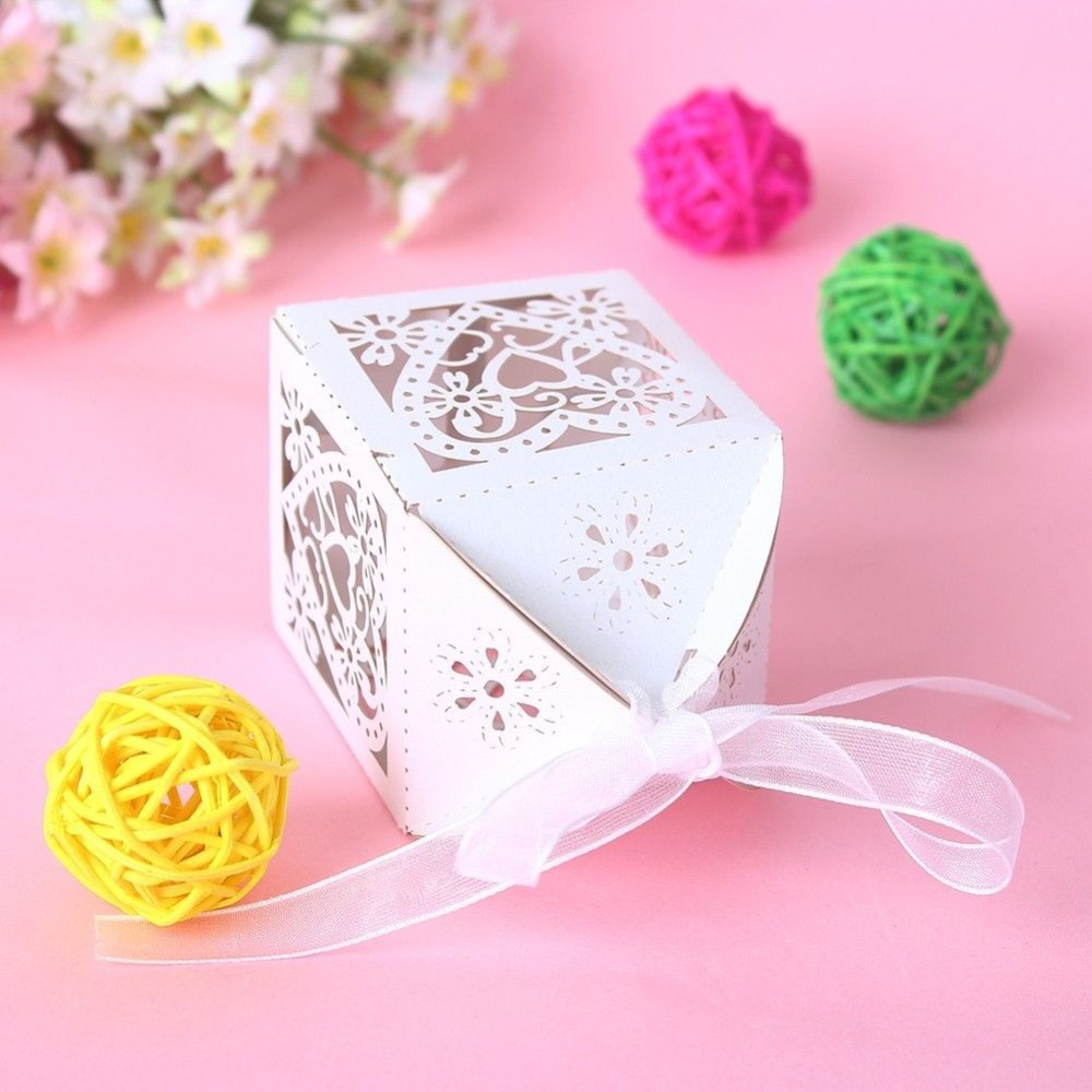New 50PCS Love Heart Laser Cut Candy Gift Boxes With Ribbon Wedding ...
