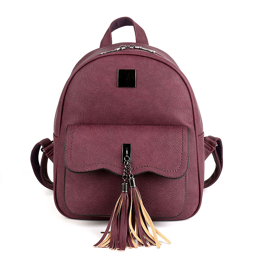 COOL WALKER Solid Color New Tassel Women Backpacks Fashion PU Leather Lady Backpack Fashion Girls School
