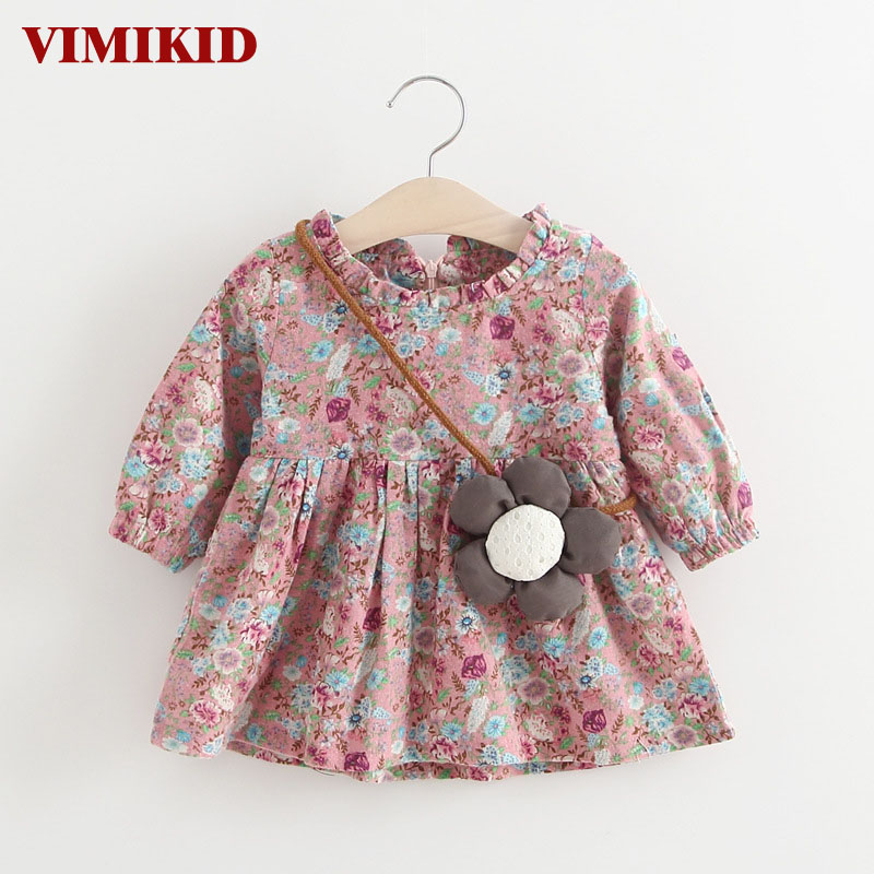 VIMIKID Baby Girls Dresses 2017 New Children Dress for Baby Girls Clothing Printing Long Sleeves Dress +Pendant Kids Clothes 2017 new summer beach printing fruit pineapple pattern printing design for baby girls dress children headband dresses clothing