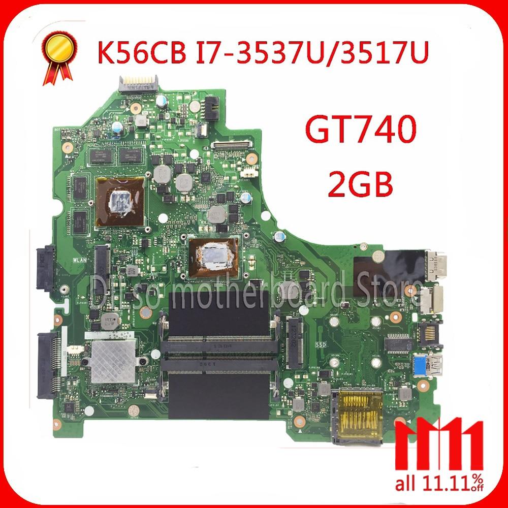 KEFU K56CM For ASUS K56CB K56CM A56C S550CM Laptop Motherboard i7 CPU GT740 2GB Mainboard Test S550CD K56CM mainboard PM