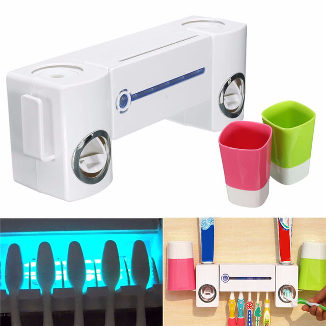 New White Antibacteria UV Light Ultraviolet Sterilizer Toothbrush Holder Cleaner Automatic Toothpaste Dispenser Antibacteria