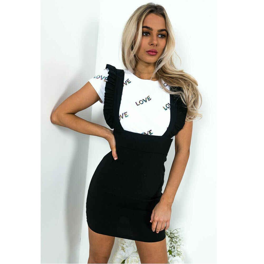 แฟชั่นผู้หญิงชุดตรวจสอบฟันสุนัข Frill Ruffle Pinafore สูงเอว Bodycon ชุดมินิปาร์ตี้วันหยุด Casual Slim Dress vestidos