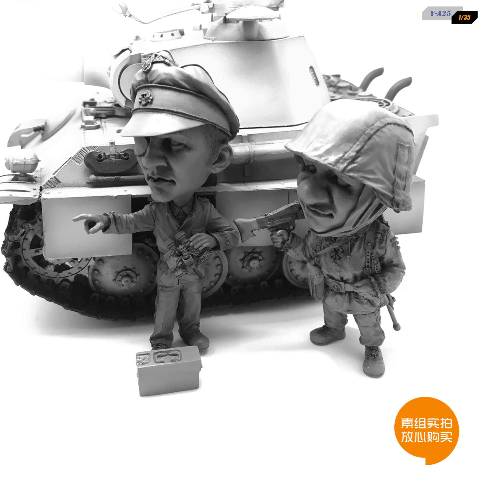 Q  Resin Kits Edition Resin Assembled Tank Plus Q Version Of The Soldier Suit Self-assembled  Y-A25