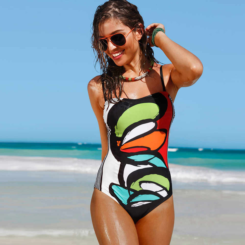 8b7acca31bf ... Bright Color Painting 2019 One Piece Monokini Suit Sexy Padded Black  Back Lady Vocation Swim Bikini ...