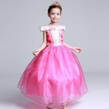 Girl Performance Dress Hot Princess Aurora ankle length pink dress 2017 kids clothing quality Sleeping Beauty cosplay Costumes