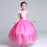 Girl Performance Dress Hot Princess Aurora Ankle Length Pink Dress 2017 Kids Clothing Quality Sleeping Beauty
