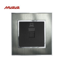 MVAVA Cable DATA Wall Socket 110-250V Satin Metal Panel General-Purpose Lan Cable DATA Net Jack Plug Port Socket Free Shipping aucas 24 port blank patch panel metal material unload modular patch panel frame with cable manager bar