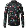 2016 Мужские Зимние Куртки и Пальто Кардиганы Jaqueta Masculina мужская Повседневная Мода Slim Fit Осень Молния Цветочные Куртки Hombre