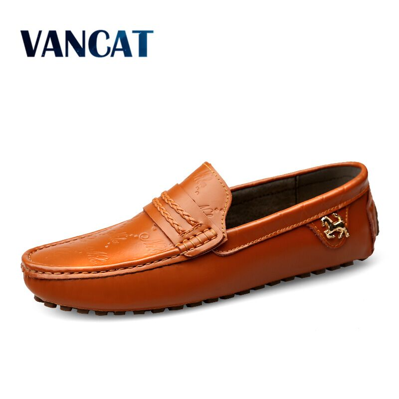 Vancat Brand Summer spring Breathable Genuine   Leather   Flats Loafers Men Shoes Casual shoes Luxury Fashion Slip On Driving Shoes