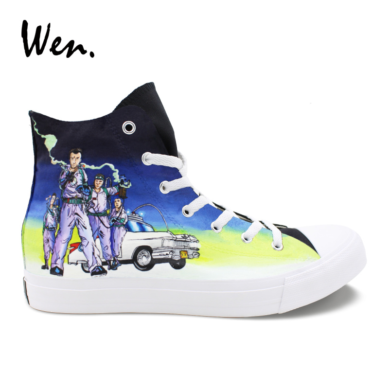 Wen Design Hand Painted Black Shoes Ghostbusters High Top Lace Up Mens Canvas Athletic Shoes Womens Flat Bottom Sneakers black v neck lace up design cami top