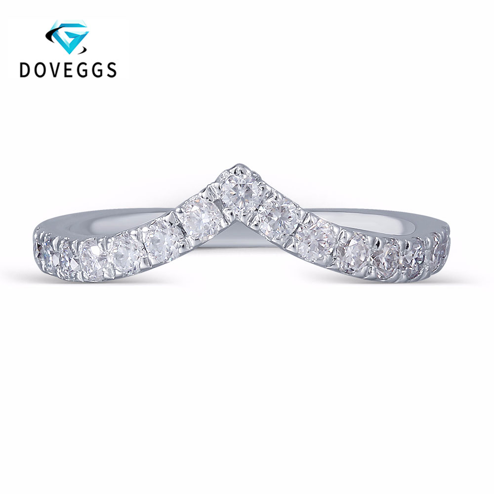 DovEggs Classic 0.53CTW 2mm Width Moissanite Half Eternity Anniversary Wedding Band Guard Ring Platinum Plated Silver Party BandDovEggs Classic 0.53CTW 2mm Width Moissanite Half Eternity Anniversary Wedding Band Guard Ring Platinum Plated Silver Party Band
