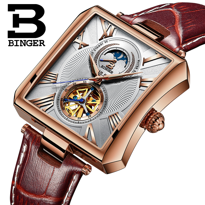 BINGER Automatic Watch Men Elegant Rectangle Dial Leather Band Autoamtic Self-wind Mechanical Watches For Men Relogio Masculino