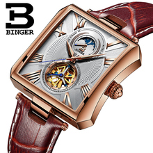 BINGER Automatic Watch Men Elegant Rectangle Dial Leather Band Autoamtic Self-wind Mechanical Watches For Men Relogio Masculino все цены