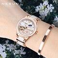 Schweiz Nesun Marke Skeleton Mechanische Damen Uhr Top Luxus Keramik Armband Automatische Uhr Frauen Relogio Masculino Neue