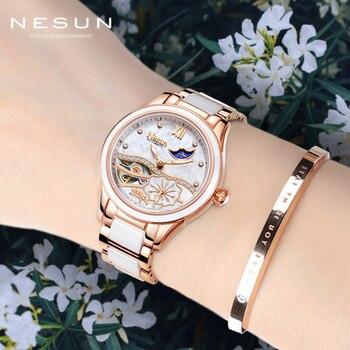 Switzerland Nesun Brand Skeleton Mechanical Ladies Watch Top Luxury Ceramic Bracelet Automatic Watch Women Relogio Masculino New