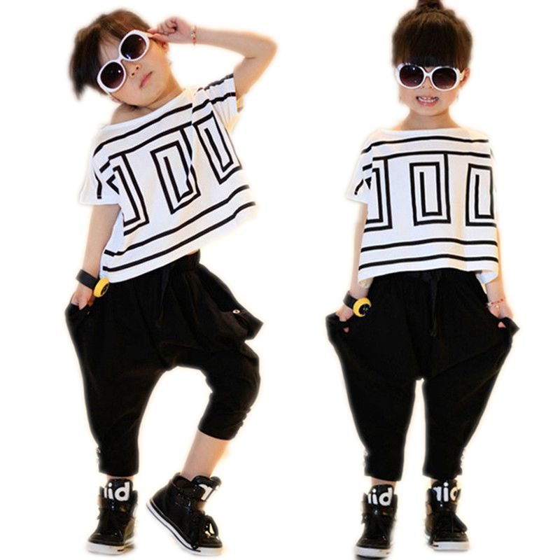 Fashion Summer Baby Clothing Sets Girls Clothes Suits Children T Shirt+ Harlan Pant Shing Performance Costume Kids Dance Outfits baby kids baseball season clothes baby girls love baseball clothing girls summer boutique baseball outfits with accessories