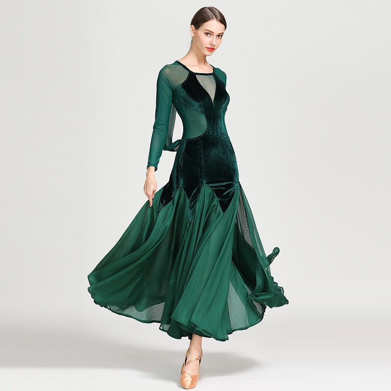 Lady Modern Dancing Dress Long Sleeve O Neck National Standard Dance Wear Waltz Ballroom Dance Costumes Velvet Dance Suit D0752