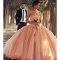 Melocotón coral vestidos de quinceañera vestido 15 vestidos de bola mascarada vestido de perlas de cristal de lujo sweet 16 debutante vestidos del partido 2017
