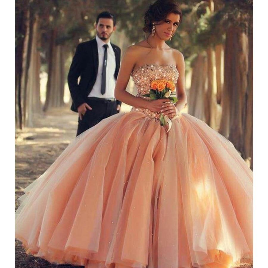 Peach Coral Quinceanera Dresses Vestido 15 Masquerade Ball Gown ...