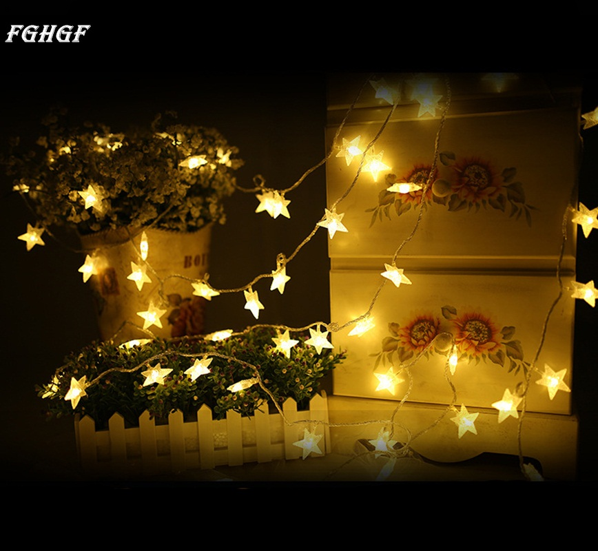 FGHGF Fairy String Star Light Lamp New Year Wedding Xmas Party Outdoor Indoor Light Decor 5m 50 leds Long Sting Star Lights