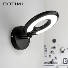BOTIMI LED Wall Lamp For Bedroom Round Reading Wall Sconce Applique murale luminaire Modern Mirror Light Office Lighting