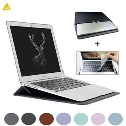 Saco de Correio de couro Sleeve Case Bolsa Para Macbook Air 13 A1466 Pro Retina 11 12 15 Notebook Laptop Capa Para macbook Toque ID A1932