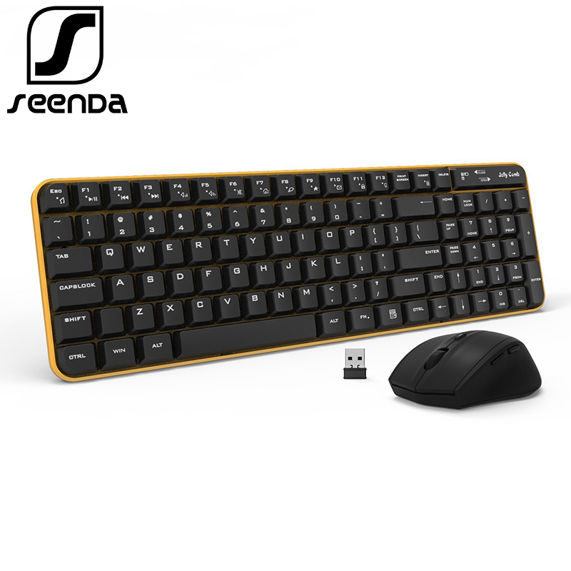SeenDa Full-Size 2.4Ghz Wireless Keyboard Mouse Combo Whisper Quiet for PC Desktop Laptop Windows XP/7/8/10 Home and Office Use