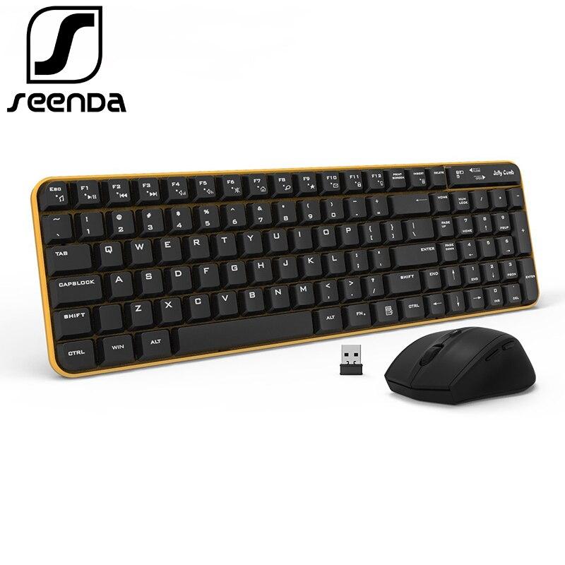 SeenDa Volle-Größe 2,4 ghz Wireless Tastatur Maus Combo Flüstern Ruhig für PC Desktop-Laptop Windows XP/7 /8/10 Home und Büro Verwenden