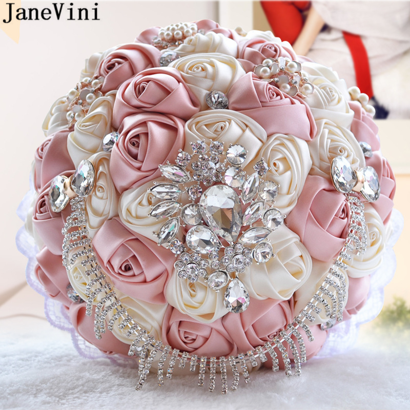 JaneVini Elegant Bridal Bouquets for Wedding Artificial Satin Rose Flowers with Crystal Beaded Bride Holding Brooch