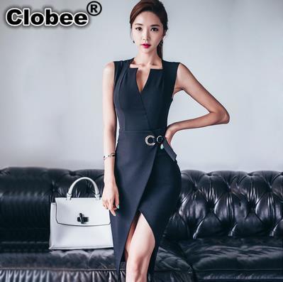 2017 Summer Elegant Women Business Dress V-neck sexy split black White OL Office Work Tunic Bodycon Sheath Pencil Blazer Dresses camiseta para quemar grasa