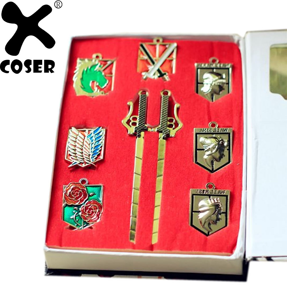 XCOSER Attack On Titan Badge Keychain Set Cosplay Accessories Costume Props 9Pcs/set (7Pcs Badge + 2Pcs Mini Sword Keychain)
