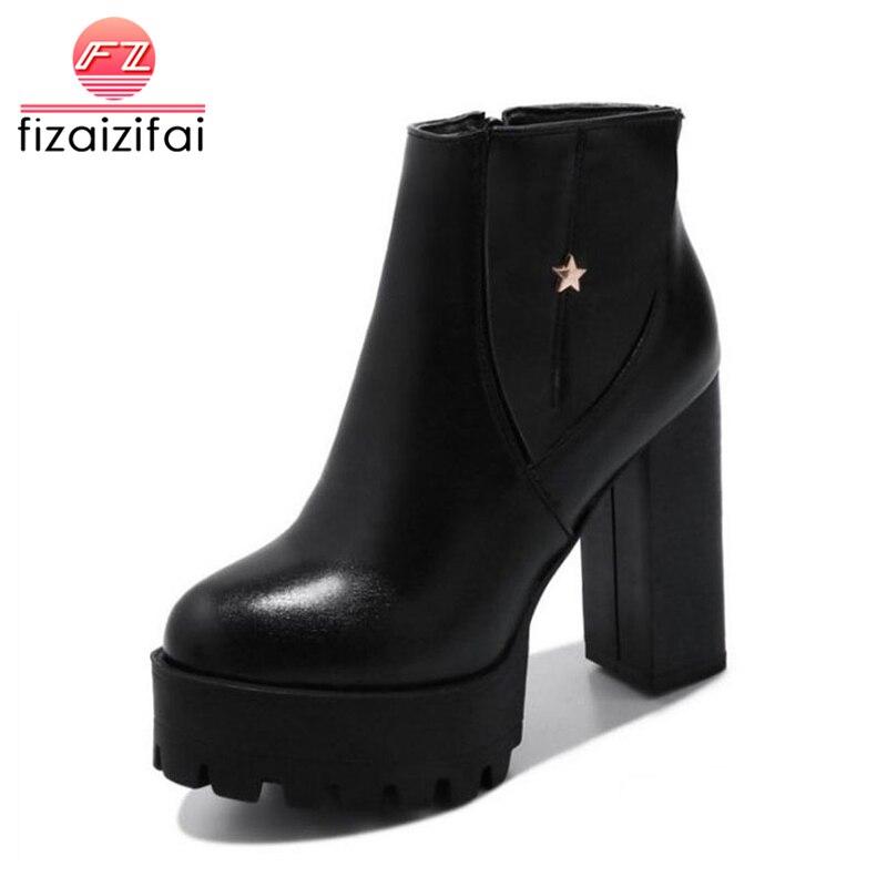 Bescheiden Fizaizifai Größe 32-43 Frauen Starke Absatz Stiefeletten Winter Stiefel Für Frauen Zipper Dicken Plattform Warme Plüsch Innen Botas Schuhe