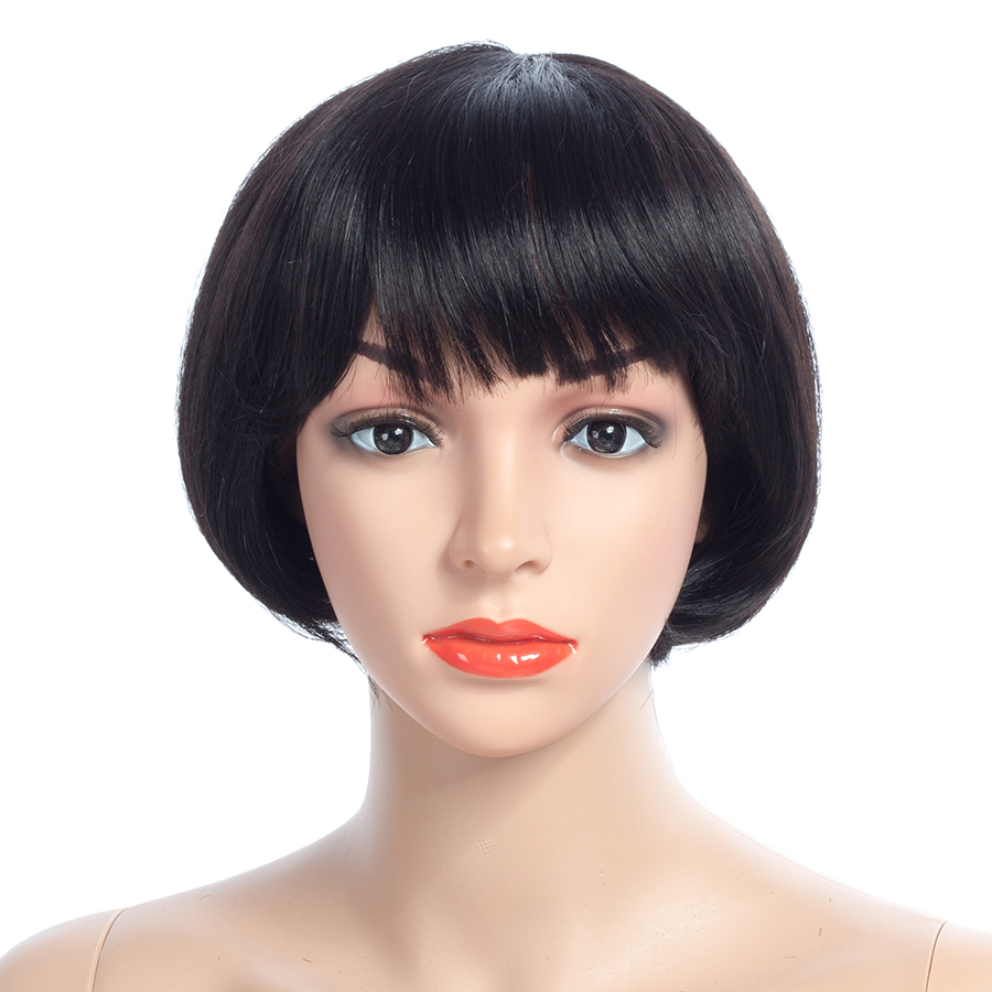 NAYOO Non Lace Human Hair Wigs With Baby Hair For Women Natural Black 150% Straight Peruvian Remy Hair Wigs
