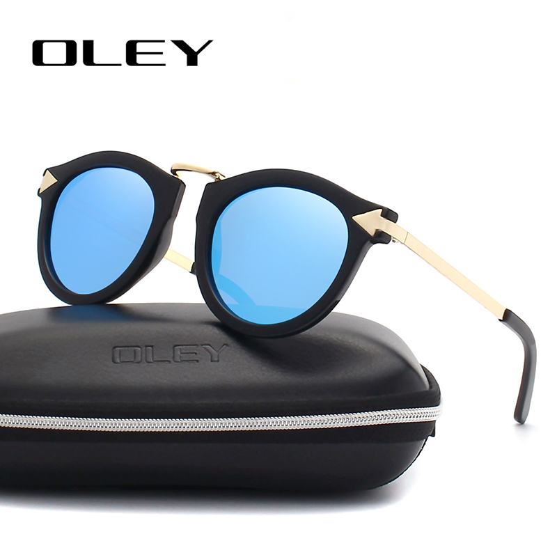 OLEY Polarized Sunglasses Oculos-De-Sol Fashion Anti-Glare-Goggles Classic Round Brand Women