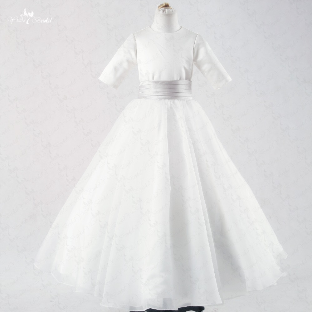 FG44 O Neckline Silver Belt Bow Ribbon White Long Sleeve   Flower     Girl     Dresses