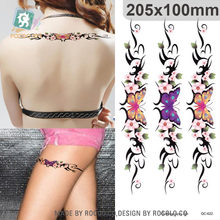 Rocooart Flower Chain Tattoo Butterfly Temporary Tribal Body Tattoo Sticker Arm Leg Belly Tatoo For Women Waterproof Fake Tatto(China)