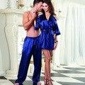 2017 nueva sexy blue ice seda verano parejas de servicio a domicilio pijamas fabricantes mayoristas spot