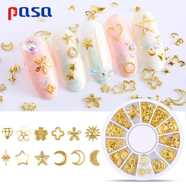 Us 153 30 Offmixed Gold Ornaments Nail Rhinestone Small Irregular Beads Manicure 3d Nail Art Decoration In Wheel Accessories Nail Decorations In