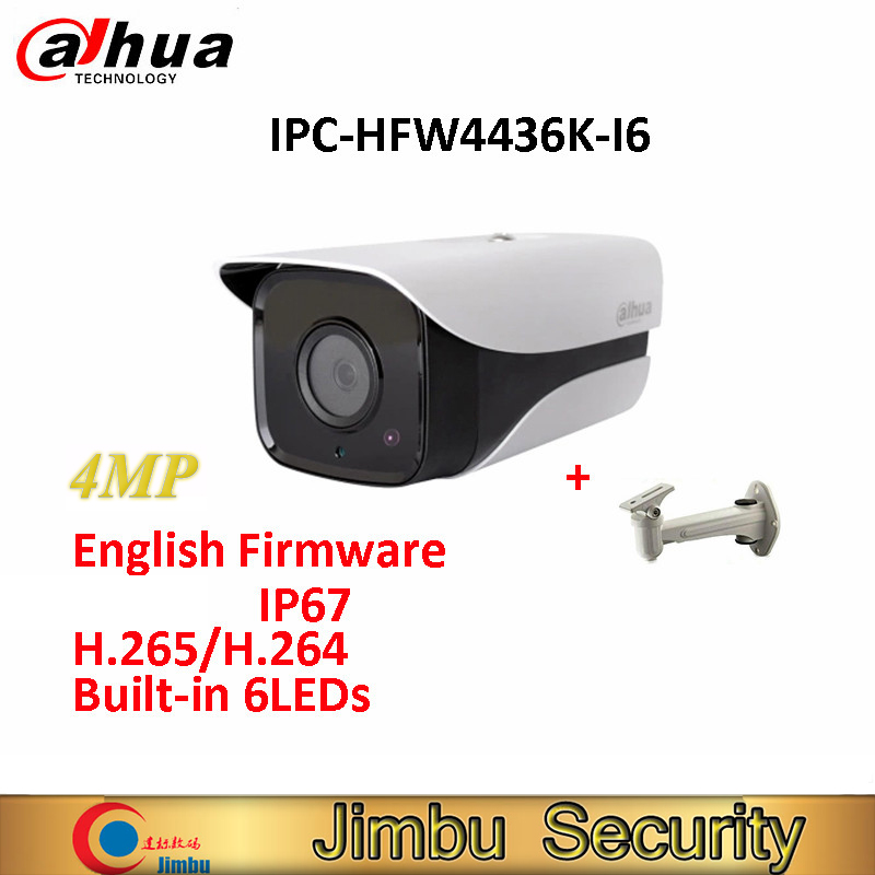 Original Dahua IP Camera DH-IPC-HFW4436K-I6 4MP English Firmware H.265/H.264 Network IR150m WDR Bullet with free bracket dahua english vewrsion 4mp wdr network vandalproof bullet ip camera with fixed lens ip67 ipc hfw4421e 3 6mm lens