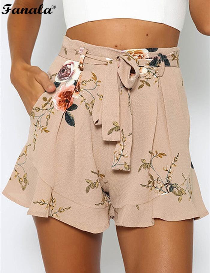 Print Chiffon High Waist Draped Floral Women Loose Boot Cut Shorts with Pockets
