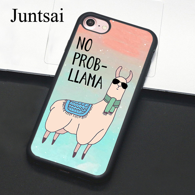 cheap for discount 26bda c6940 US $4.14 5% OFF|Juntsai No Prob Llama Cases for iphone 5 5s SE 6 6s 7 8  Plus X Hard Protective Back Cover Case Coque For iphone 7 Plus-in Fitted  Cases ...