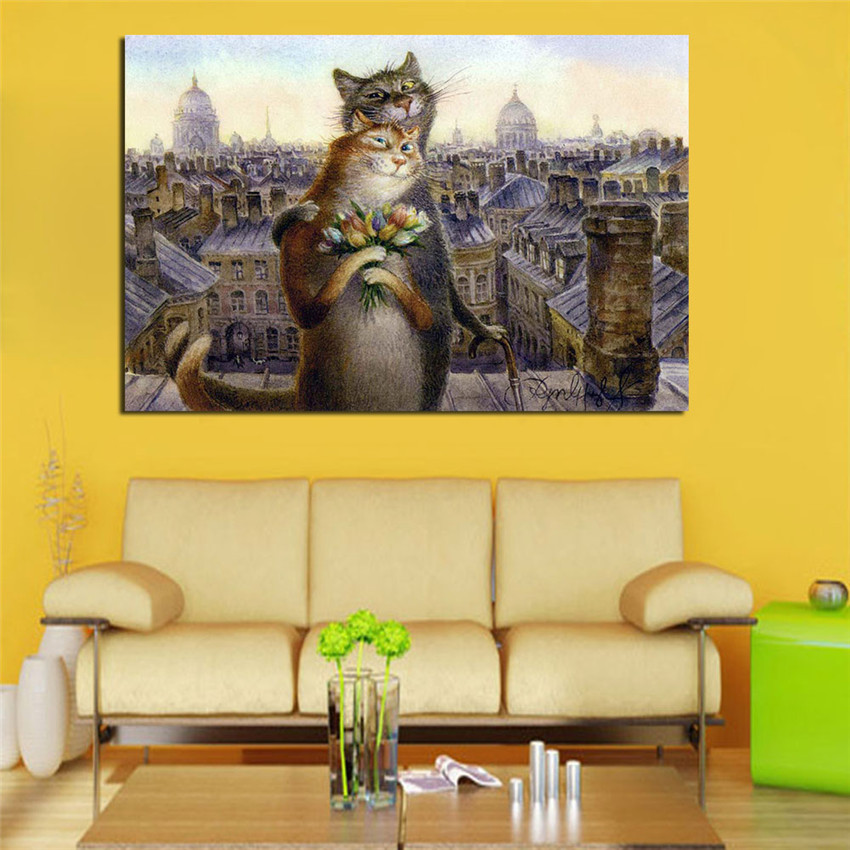 Cuadros Decoracion Frameless Cat Couples Canvas Printing Modern Wall ...