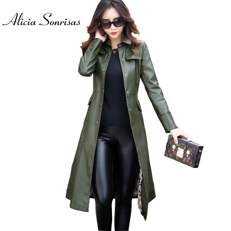 Plus Size 4XL 5XL Women Long Leather Jacket Trench Coat For 2017 Autumn Winter Extra Long Army Green 3 Colors AS6702