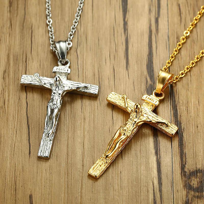 Meaeguet Vintage Cross INRI krucyfiks jezus wisiorek i naszyjnik dla kobiet mężczyzn Christian biżuteria religijna ze stali nierdzewnej prezenty