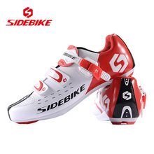 SIDEBIKE Men Women Breathable Athletic Cycling Shoes Bicycle Cycling Sports Shoes Road Bike Self-Locking Racing Shoes, White