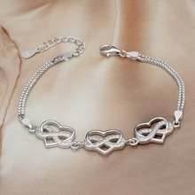 Bella Fashion 925 Sterling Silver Heart Infinity Bridal Bracelet Cubic Zircon Chain Bracelet For Wedding Party Jewelry Valentine