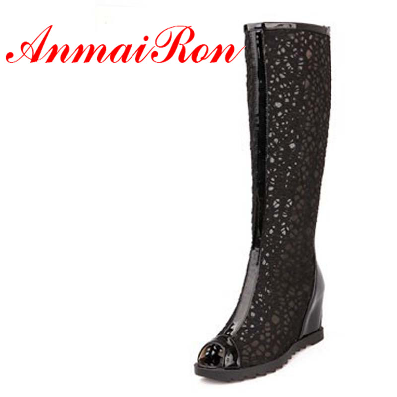 ENMAYER Black Beige White New Womens Cut-Outs Fashion Shoes PU Boots Knee-High / Summer