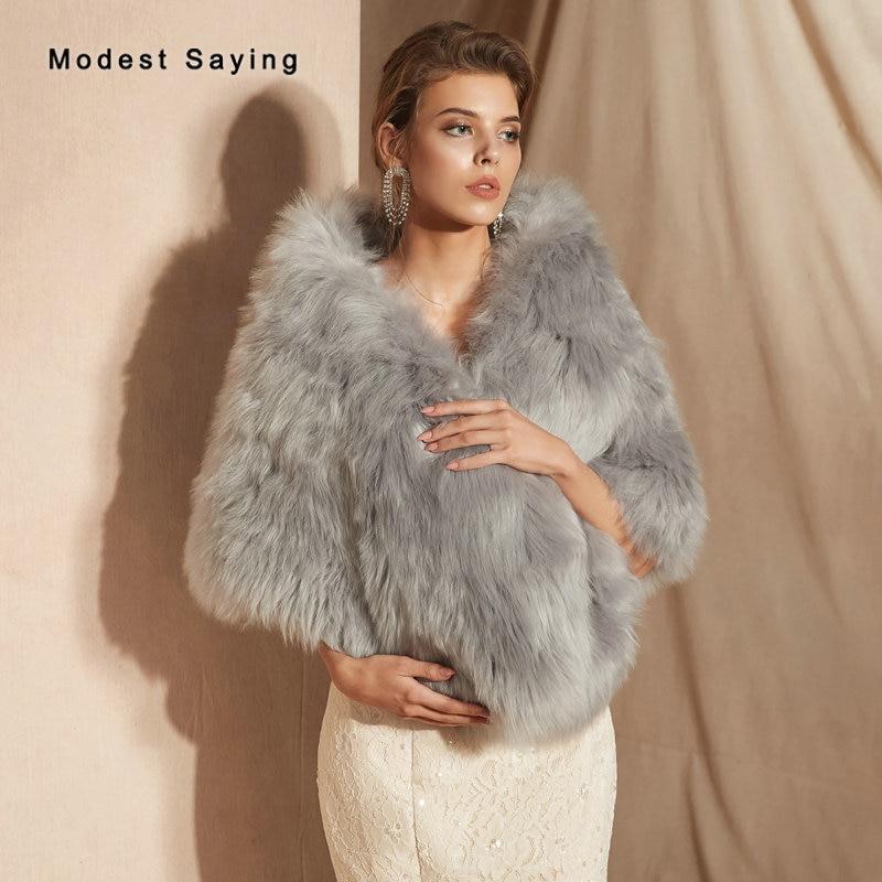 New Arrival 2019 Grey Faux Fur Wedding Shrugs Bridal Shawls New Fashion Formal Women Party Stoles Wraps Wedding Accessories