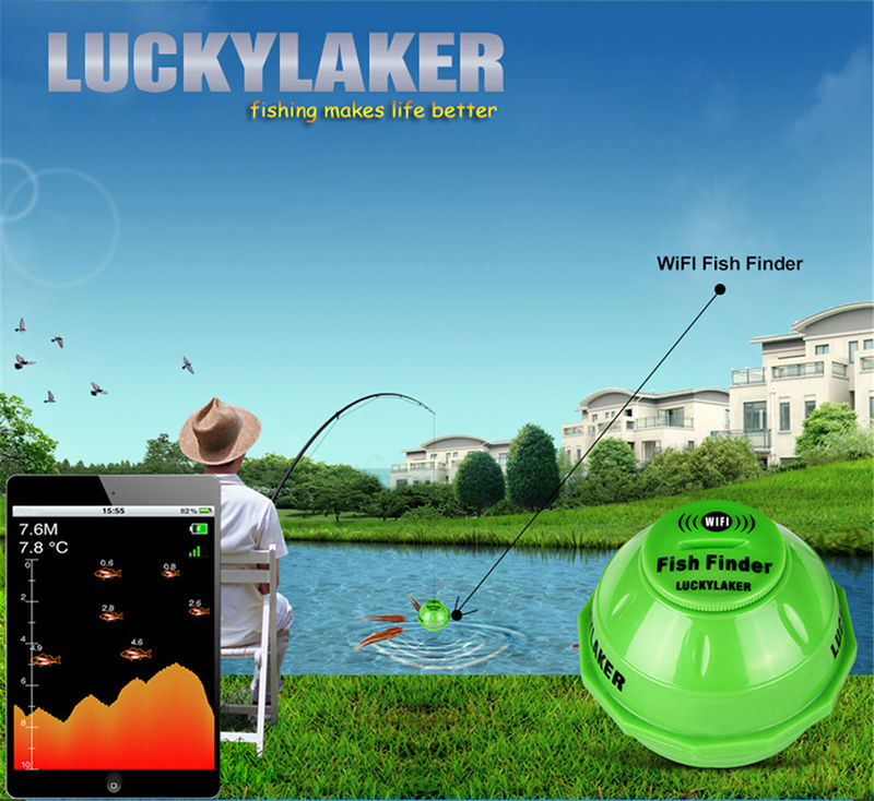 LUCKY FF916 50m/130ft Wifi Fish Finder Adjustable Wireless Sonar for Android IOS+Gift Free shipping эхолот lucky ff 916 wi fi